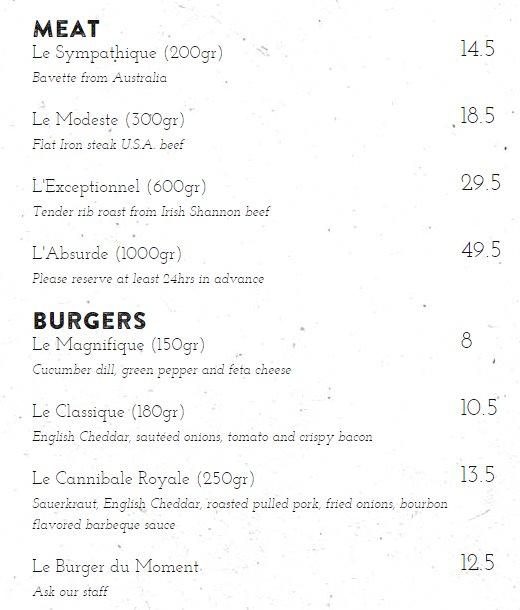 Das Menu Meat und Burger betreffend im Cannibale Royale